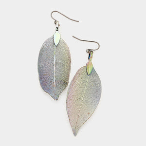 Irridescent Leaf Earrings
