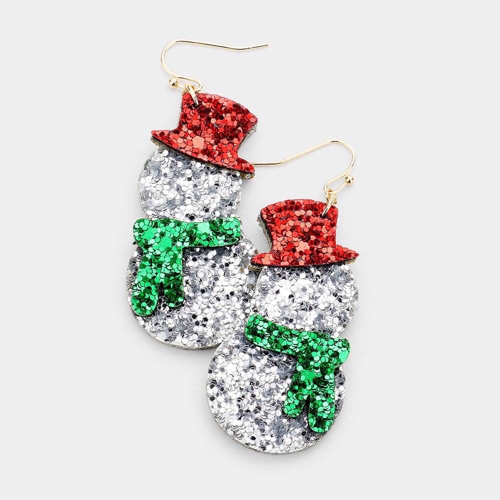 Sparkly Snowmen Earrings