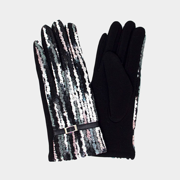 Colorful Spagetti Gloves Black