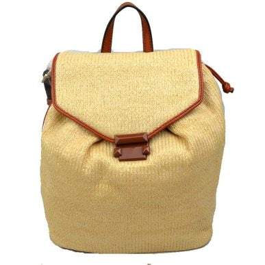 Aveline Straw Backpack Brown