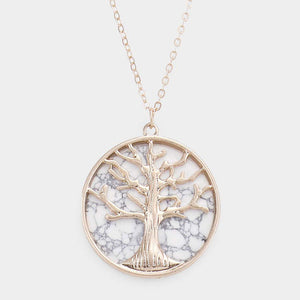 White Marbled Tree Necklace