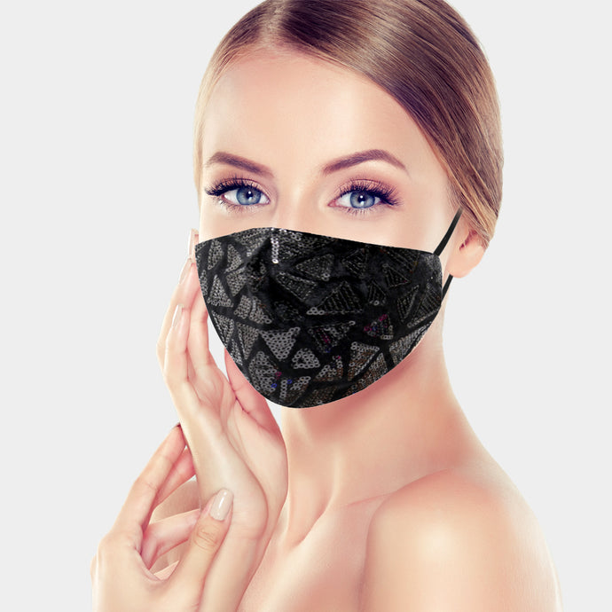 Geometric Sequin Mask