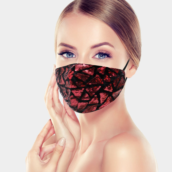 Geometric Sequin Mask Red