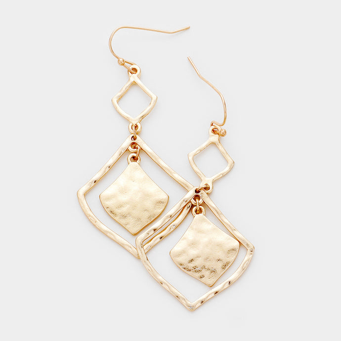 Matte Gold Rombus Earrings