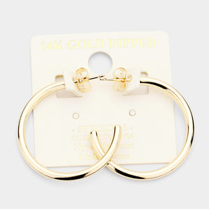 14k Gold Dipped Hoops 1.2""