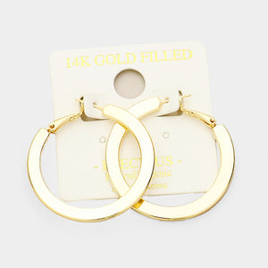 14K Gold Dipped Flat Hoops
