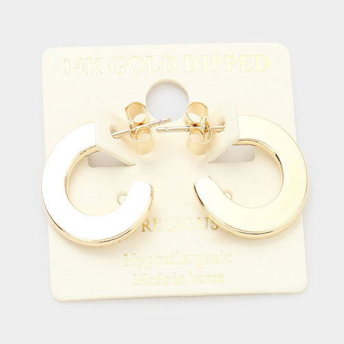 14K Gold Dipped Flat Metal Hoops