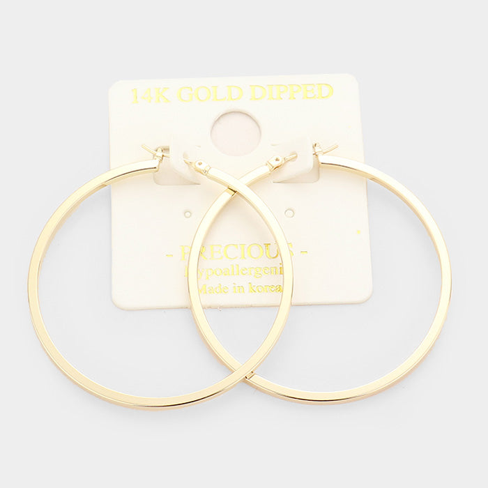 Bigger Flat Hoops Gold