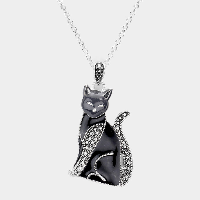 Black Kitty Necklace