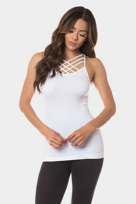 Criss-Cross Cami White ONE SIZE