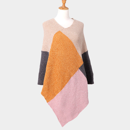 Color Block Poncho Pink O/S