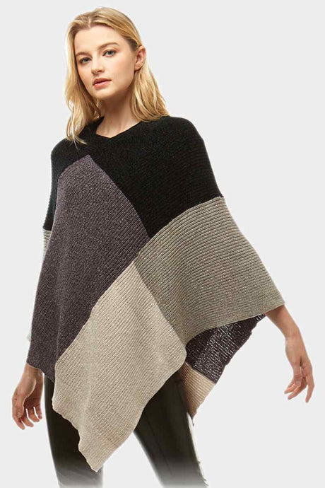 Color Blocked Poncho Black