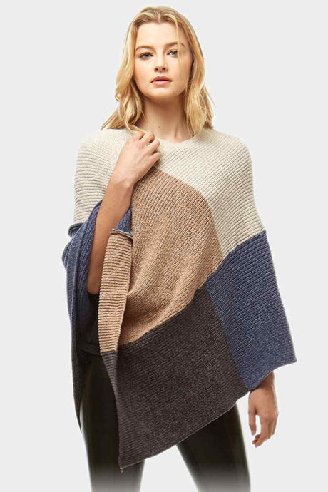 Color Blocked Poncho Blue