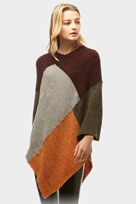 Color Blocked Poncho Burgundy