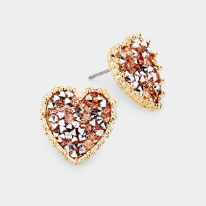 Heart cluster studs RG