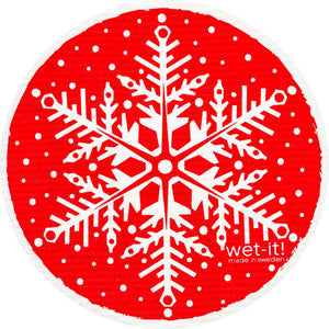 Snowflake Red Swedish Towel