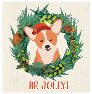 Jolly Corgi Swedish Dishcloth