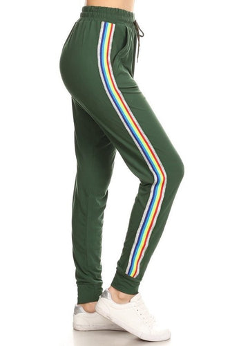 Rainbow Stripe Joggers Green