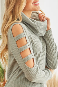 Jenna Cold Shoulder Sweater Jade