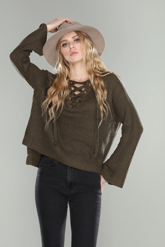Lace Me Up Sweater Charcoal