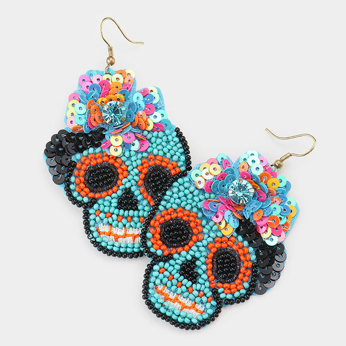 Day of the Dead Earrings Turquoise