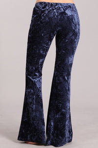 Crush Velvet Mermaid Flares Navy