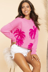 Tickled Pink Palms Sweater