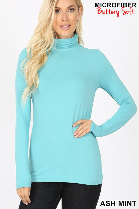 Perfect-Stretch Mock Neck Ash Mint