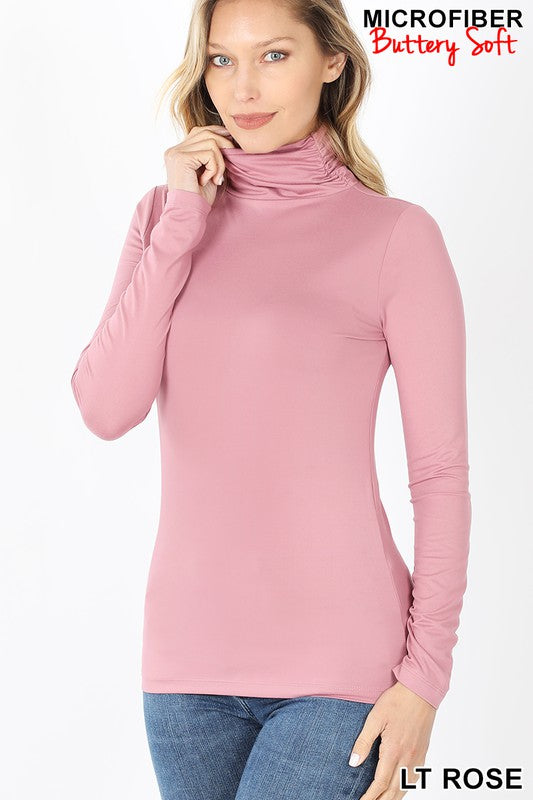 Perfect-Stretch Mock Neck Light Rose