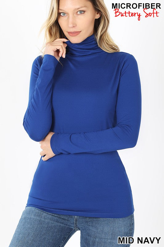 Perfect-Stretch Mock Neck Mid-Navy
