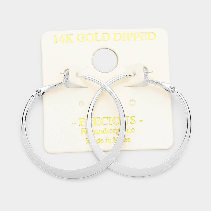 14K Dipped Hoops Silver Large