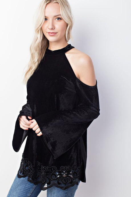Velvet Lace Tunic Black