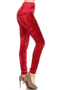 Velvet Leggings Red