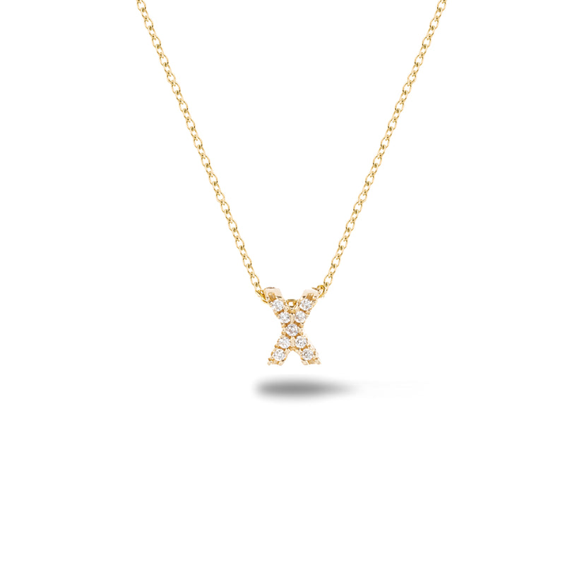 Shine, 18-karat Yellow Gold Necklace with Diamond Pendant - X
