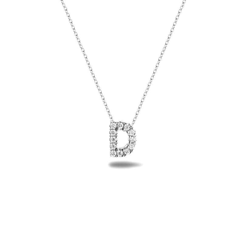 Bright, 18-karat White Gold Necklace with Diamond Pendant - D