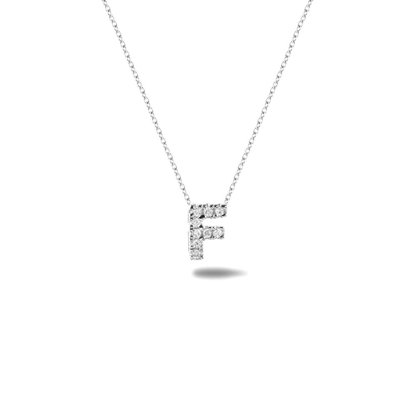 Bright, 18-karat White Gold Necklace with Diamond Pendant - F