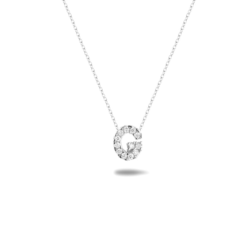 Bright, 18-karat White Gold Necklace with Diamond Pendant - G