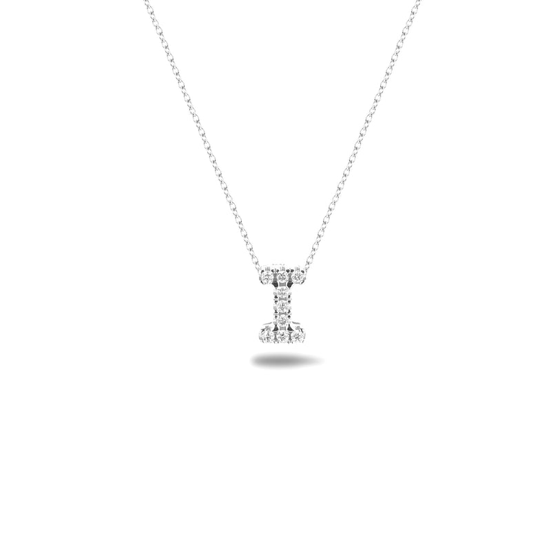 Bright, 18-karat White Gold Necklace with Diamond Pendant - I