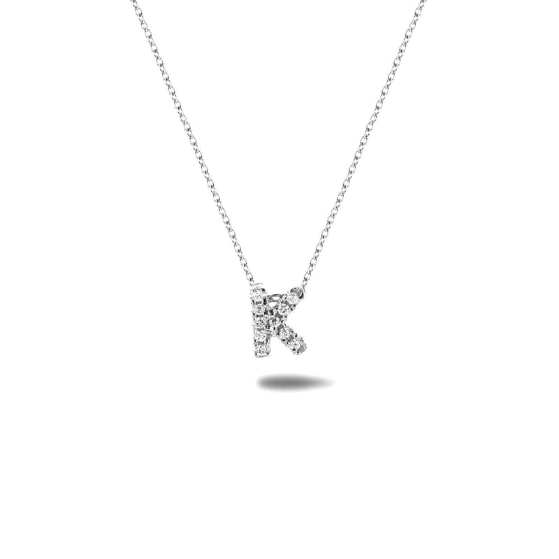 Bright, 18-karat White Gold Necklace with Diamond Pendant - K