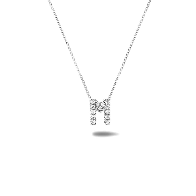 Bright, 18-karat White Gold Necklace with Diamond Pendant - M