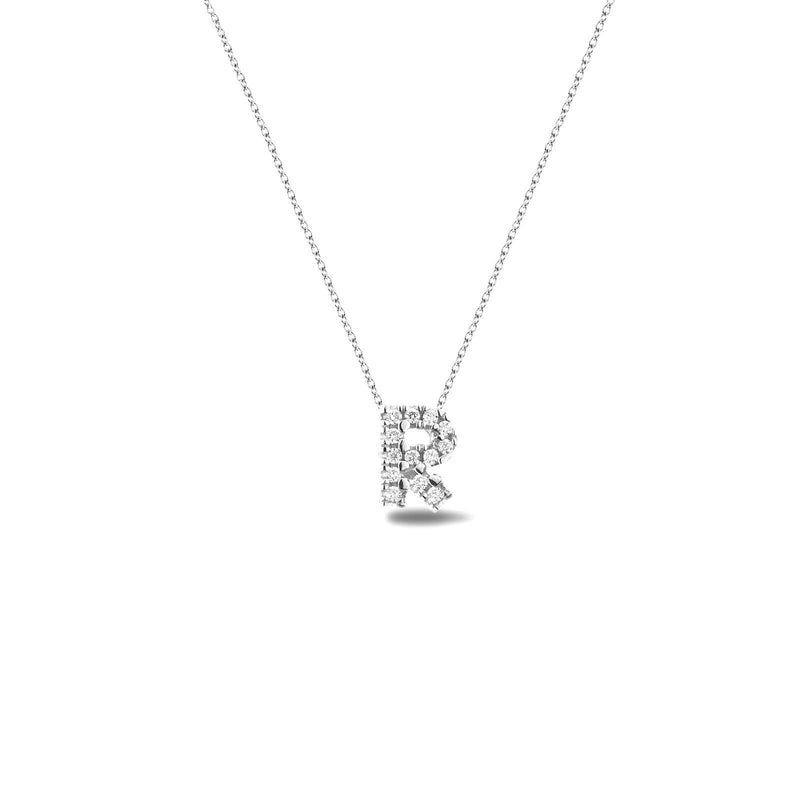 Bright, 18-karat White Gold Necklace with Diamond Pendant - R
