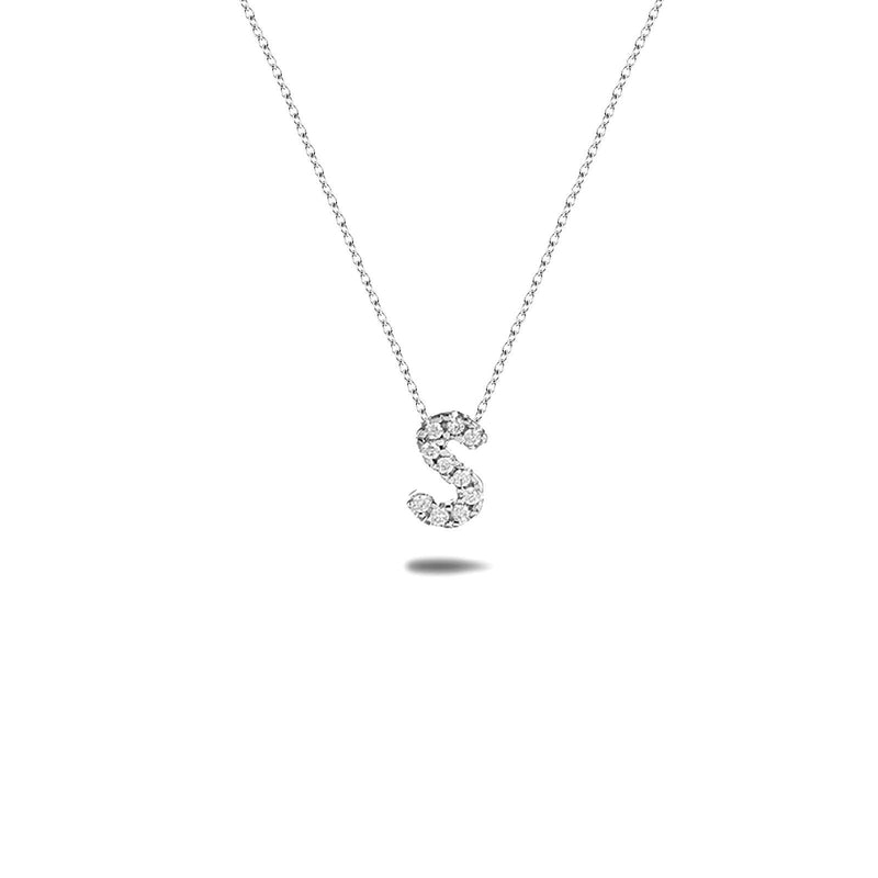 Bright, 18-karat White Gold Necklace with Diamond Pendant - S