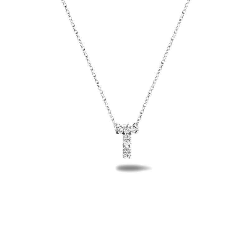 Bright, 18-karat White Gold Necklace with Diamond Pendant - T