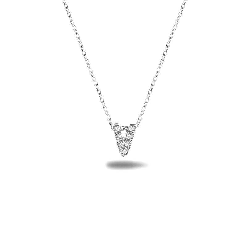 Bright, 18-karat White Gold Necklace with Diamond Pendant - V