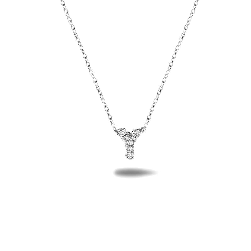 Bright, 18-karat White Gold Necklace with Diamond Pendant - Y
