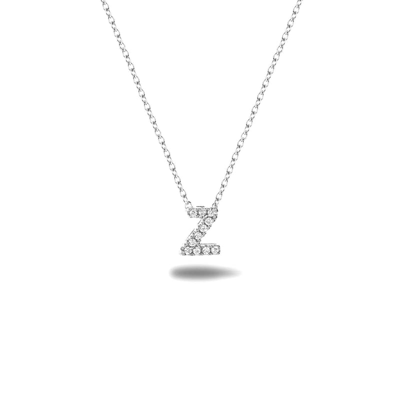 Bright, 18-karat White Gold Necklace with Diamond Pendant - Z