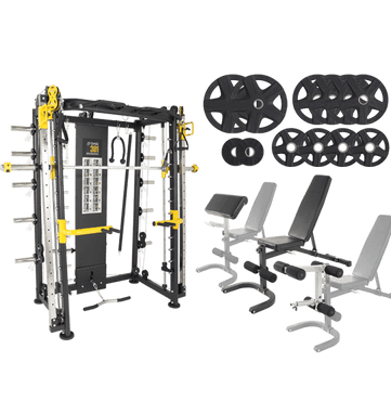 Orbit X301 Smith/Functional Training Half Rack With Fid Incline/Decline Bench Incl Attachments And Rubber Plates Package