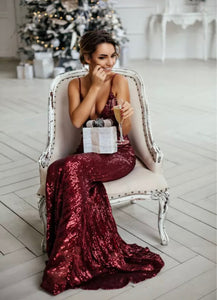 Kiss Me - Burgundy Sequin Gown