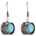 Women's Hanging Earrings Patina Copper Howlite Stone