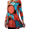 Women's Long Sleeve Tunic Top Vibrant Geo Design